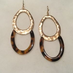 Hammered Oval Acetate Drop Earrings